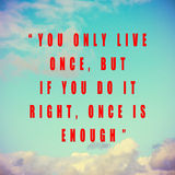 Quote Typographical Poster by, Mae West Stock Images