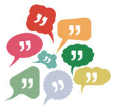 Quote vector icons in speak bubbles. Vector illustrations of the Quote vector icons in speak bubbles Royalty Free Stock Photos