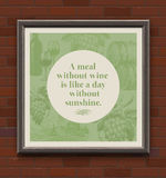 Quote about a wine in wooden frame Stock Photography