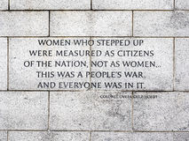 Quote about Women at WWII Memorial Stock Photography