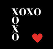 Quote: XOXO hugs and kisses in typography. On a black background and with a red heart vector illustration