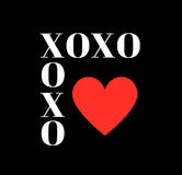 Quote: XOXO hugs and kisses in typography. On a black background and a red heart vector illustration
