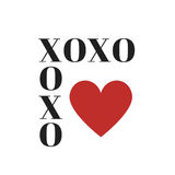 Quote: XOXO hugs and kisses in typography. Quote: XOXO hugs and kisses in black typography with large red heart stock illustration