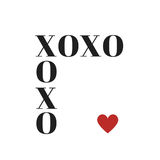Quote: XOXO hugs and kisses in typography. Quote: XOXO hugs and kisses in black typography with red heart royalty free illustration