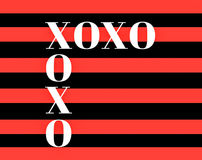 Quote: XOXO hugs and kisses in typography. In a bold red and black stripe royalty free illustration