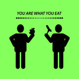 Quote, YOU ARE WHAT YOU EAT. Royalty Free Stock Images