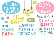 Free Quotes Hand Lettering Books And Reading Royalty Free Stock Photos - 119582138