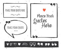 Quotes templates - hand drawn black and white set Royalty Free Stock Images