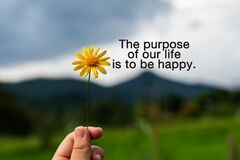 Free Quotes - The Purpose Of Our Life Is To Be Happy Stock Image - 187434851