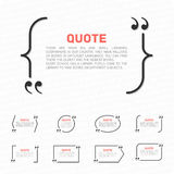 Quotes on a white background. Vector set of quotes on a yellow background . Template text with quotes Stock Photo