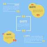 QuotesTemplate en estilo plano coloreó citas del plano fijadas Imagen de archivo