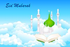 Quran on Eid Mubarak background royalty free illustration