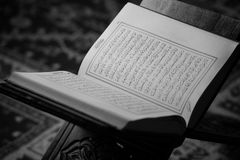 Quran Holy Book Of Muslims In Mosque. Koran Holy Book Of Muslims In Mosque Stock Photo
