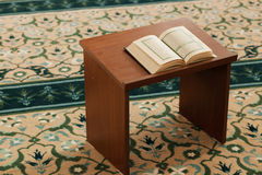 Quran in the mosque. Quran - holy book of Muslims Royalty Free Stock Image
