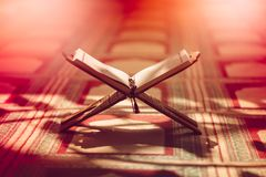 Quran in the mosque - open for prayers.  stock images