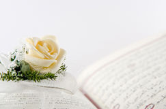 Quran and the Rose stock photos