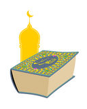 Quran. Sacred book of Muslims. Big thick book and mosque. Text o Stock Photos
