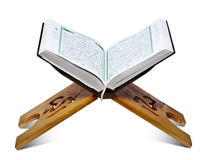 Quran Stand. Open Quran Book on Wooden Stand royalty free stock image