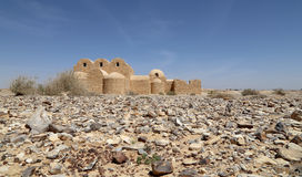 Quseir (Qasr) Amra在阿曼,约旦附近的沙漠城堡 免版税库存照片