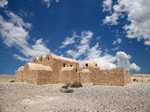 Quseir (Qasr) Amra pustynia kasztel blisko Amman, Jordania Zdjęcie Royalty Free