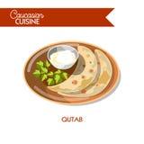 Qutab Caucasian Azerbaijani cuisine vector flat snack icon Royalty Free Stock Photo
