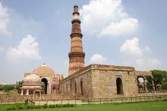 Qutab Minar, Delhi, India. Qutab Minar in Delhi, India. It is a minaret that forms of the Qutab complex, a UNESCO World Heritage Site stock photography