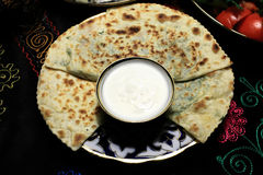 Qutab with sauce on a plate Royalty Free Stock Photography