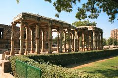 Qutb Minar. Ancient carved stone cloisters Stock Images