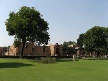 Qutb Minar Complex. Ruins of the temple at Qutb Minar Complex, Delhi, India Stock Photo