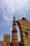 Qutb Minar  - Delhi. Qutb Minar at the Qutb Complex in Delhi, India. Qutb Minar, at 72 meters, is the tallest brick minaret in the world. Qutb Minar, along with Stock Image