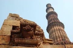 Qutb Minar, la torre de piedra más alta del mundo, la India Imagen de archivo libre de regalías