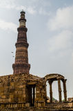 Qutb Minar and parts of qutb complex. The Qutb Minar is the tallest brick minaret in the world, inspired by the Minaret of Jam in Afghanistan, it is an important Royalty Free Stock Image