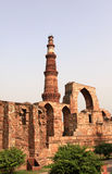 Qutb minar. The qutub minar was commissioned by qutbuddin aibak , the first muslim sultan of delhi, and was completed by his successor - iltutmish. it is not Royalty Free Stock Photo