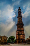 Qutb Minar. The Qutb Minar is the tallest brick minaret in the world, inspired by the Minaret of Jam in Afghanistan, it is an important example of early Afghan Stock Photography