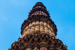 Qutb Minar. The tallest brick minaret in the world ( 72.5 metres (239 ft)) inspired by the Minaret of Jam in Afghanistan, it is an important example of early Stock Image