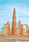 Qutub нарисованное рукой Minar, Нью-Дели, Индия - вектор Стоковое Фото