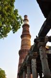 Qutub Minar和废墟,德里,印度 免版税库存图片
