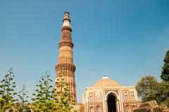 Qutub minar在德里,印度 免版税库存照片