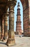 Qutub Minar塔在德里,印度 库存图片