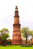 Qutub-Minar塔,德里,印度 免版税库存照片
