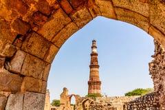 Qutub Minar塔,新德里印度 图库摄影