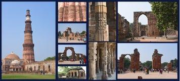 Qutub Minar复合体-最高的尖塔在印度 库存照片