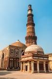 Qutub Minar尖塔在德里 免版税图库摄影
