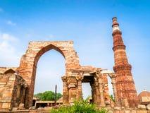 Qutub Minar,联合国科教文组织世界遗产名录站点在新德里,印度 库存照片