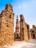 Qutub Minar,联合国科教文组织世界遗产名录站点在新德里,印度 库存图片