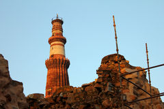 Qutub minar construction site Stock Photography