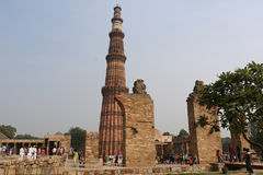 Qutub Minar courtyard and its ruins -  UNESCO World Heritage Sit Royalty Free Stock Image