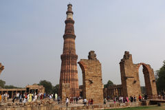 Qutub Minar courtyard and its ruins -  UNESCO World Heritage Sit Royalty Free Stock Images