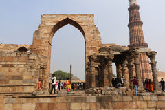Qutub Minar courtyard and its ruins -  UNESCO World Heritage Sit Stock Photo