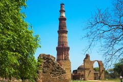 Qutub minar delhi. Qutub Minar is the tallest brick minaret in the world and situated in delhi royalty free stock images
